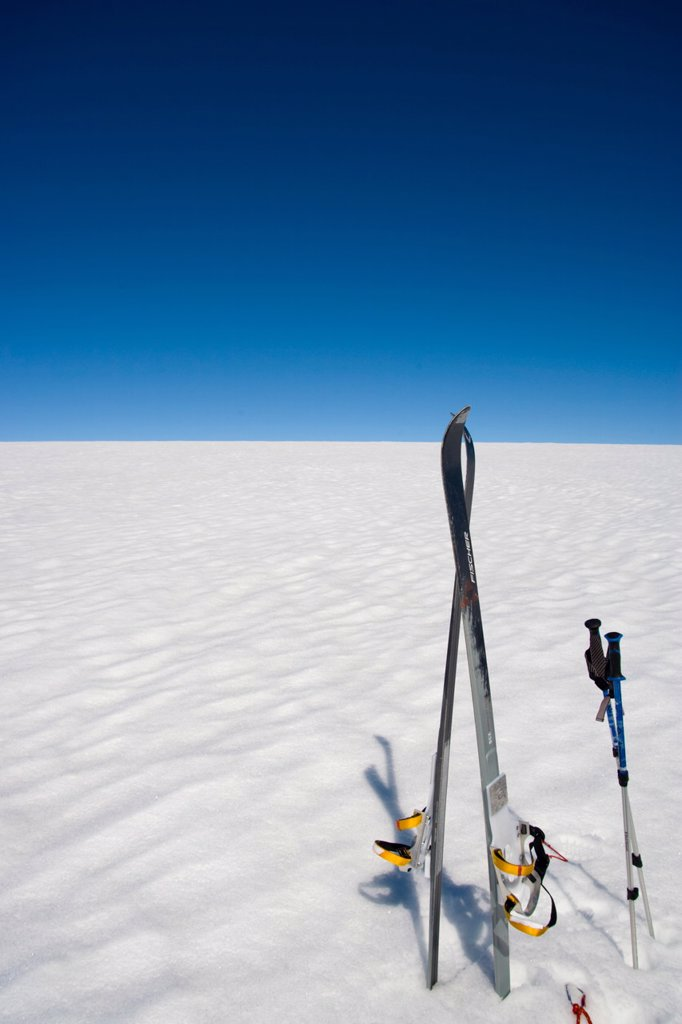 Skis stored vertically on inland icecap, Greenland, Polar Regions : Stock Photo