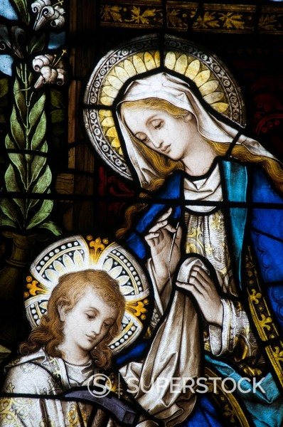 Stock Photo: 1890-113199 Famous stained glass windows by Harry Clarke, Diseart Institute of Education and Celtic Culture, Dingle, County Kerry, Munster, Republic of Ireland, Europe