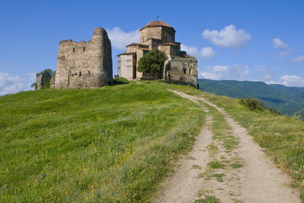The church of Jvari, Mtskheta, UNESCO World Heritage Site, Georgia, Caucasus, Central Asia, Asia : Stock Photo