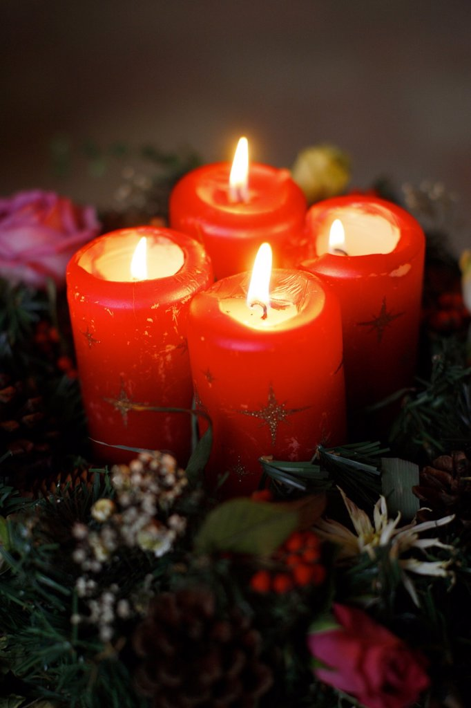 Advent candles, France, Europe : Stock Photo