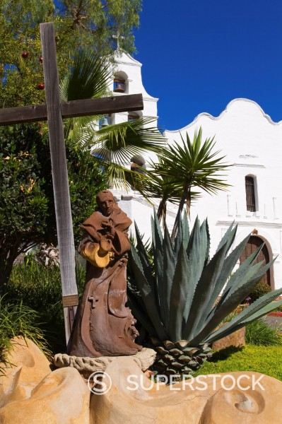 Stock Photo: 1890-114609 Father Junipero Serra statue, Mission Basilica San Diego de Alcala, San Diego, California, United States of America, North America