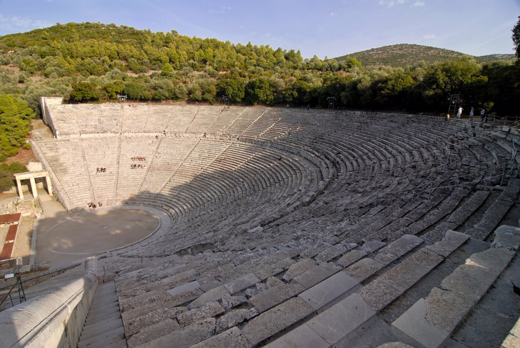 Stock Photo: 1890-114740 The ancient amphitheatre of Epidaurus, UNESCO World Heritage Site, Peloponnese, Greece, Europe