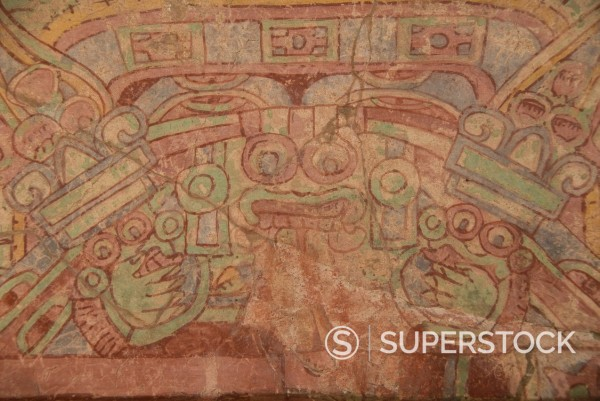 Stock Photo: 1890-115084 Detail of the most famous fresco at Teotihuacan, showing the Rain God Tlaloc being attended to by priest, Palace of Tepantitla, Archaeological Zone of Teotihuacan, UNESCO World Heritage Site, Mexico, North America