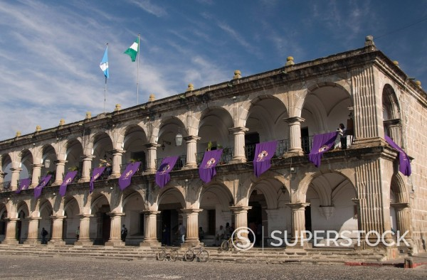 Stock Photo: 1890-115085 The Ayuntamiento town house, dating from 1740, Antigua, UNESCO World Heritage Site, Guatemala, Central America