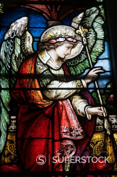 Stock Photo: 1890-115303 Famous stained glass windows by Harry Clarke, Diseart Institute of Education and Celtic Culture, Dingle, County Kerry, Munster, Republic of Ireland, Europe
