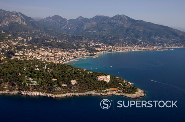 Stock Photo: 1890-115362 View from helicopter of Roquebrune, Cap Martin, Provence, Cote d´Azur, French Riviera, France, Mediterranean, Europe