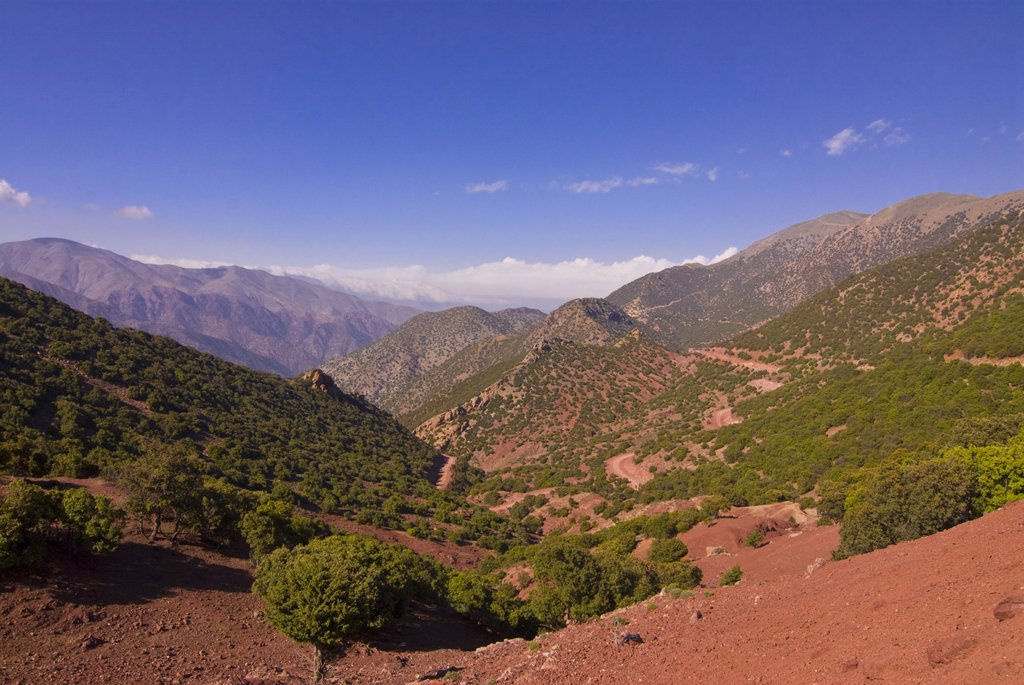 Stock Photo: 1890-115585 Mountain scenery, seen from the mountain pass Tizi n´Test, Atlas Mountains, Morocco, North Africa, Africa