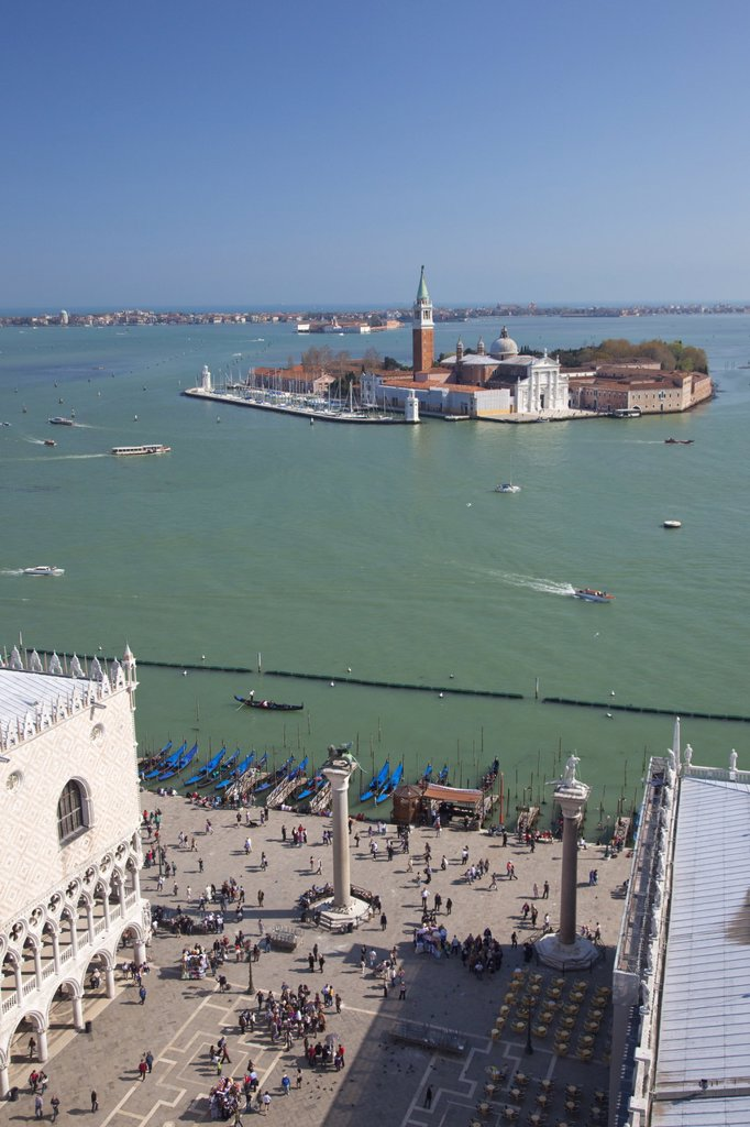 Stock Photo: 1890-115669 View of Isole San Giorgio Maggiore from top of St. Marks Belltower Campanile San Marco, with the Doge´s Palace and Piazzetta in foreground, Venice, UNESCO World Heritage Site, Veneto, Italy, Europe