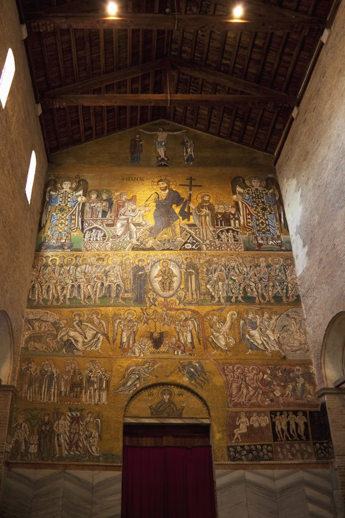 Domesday mosaics of the Last Judgement, dating from the 12th century Byzantine period, Cathedral of Santa Maria Assunta Duomo Santa Maria dell´Assunta, Torcello Island, Venice Lagoon, UNESCO World Heritage Site, Veneto, Italy, Europe : Stock Photo
