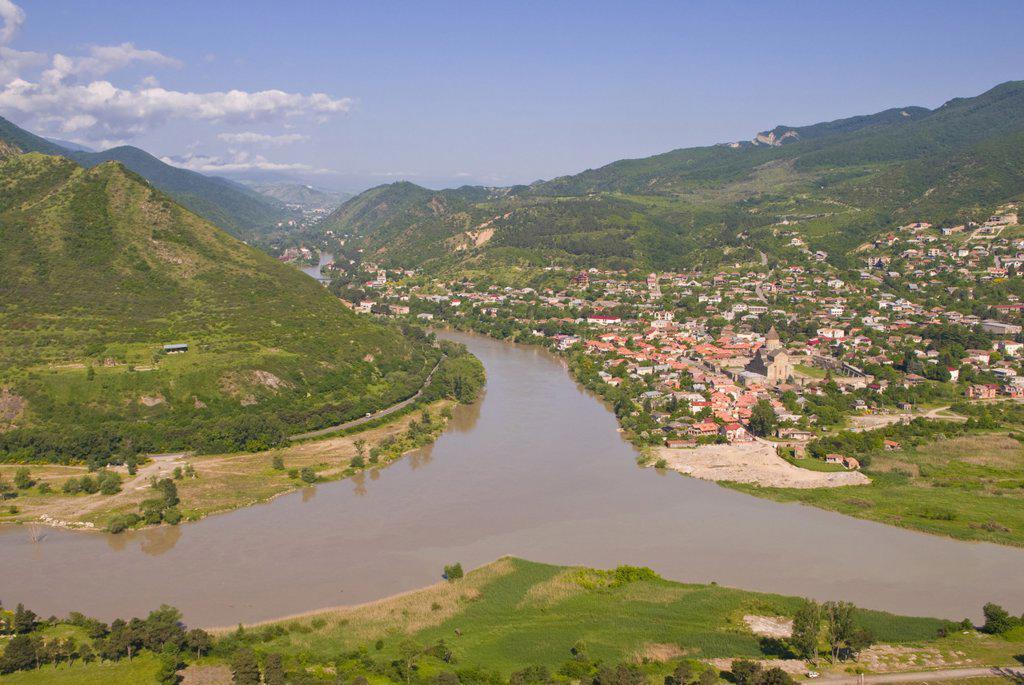 Stock Photo: 1890-116434 View over the Mtkvari River and Mtskheta, Georgia, Caucasus, Central Asia, Asia