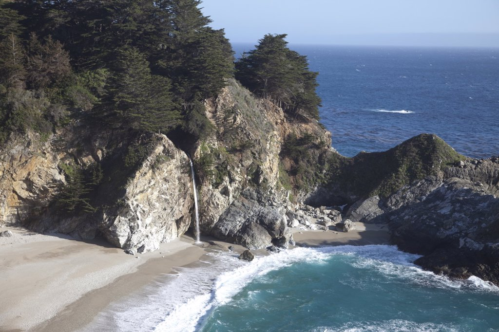 Stock Photo: 1890-116605 Waterfall and beach at Julia Pfeiffer Burns State Park, near Big Sur, California, United States of America, North America