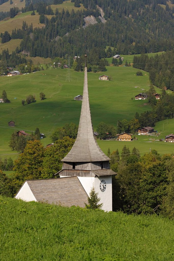 Stock Photo: 1890-116897 Church, Gstaad region, Switzerland, Europe