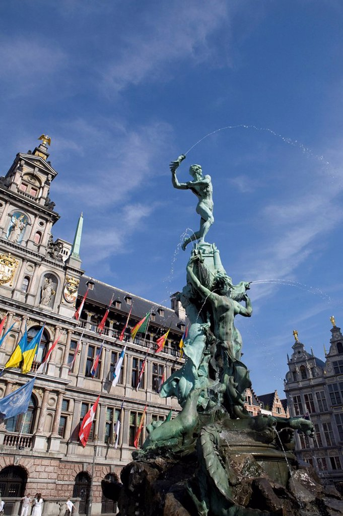 The old market square, Antwerp, Belgium, Europe : Stock Photo