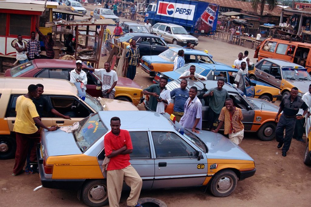 Stock Photo: 1890-11741 Taxis and drivers on street, Kasoa, Ghana, West Africa, Africa
