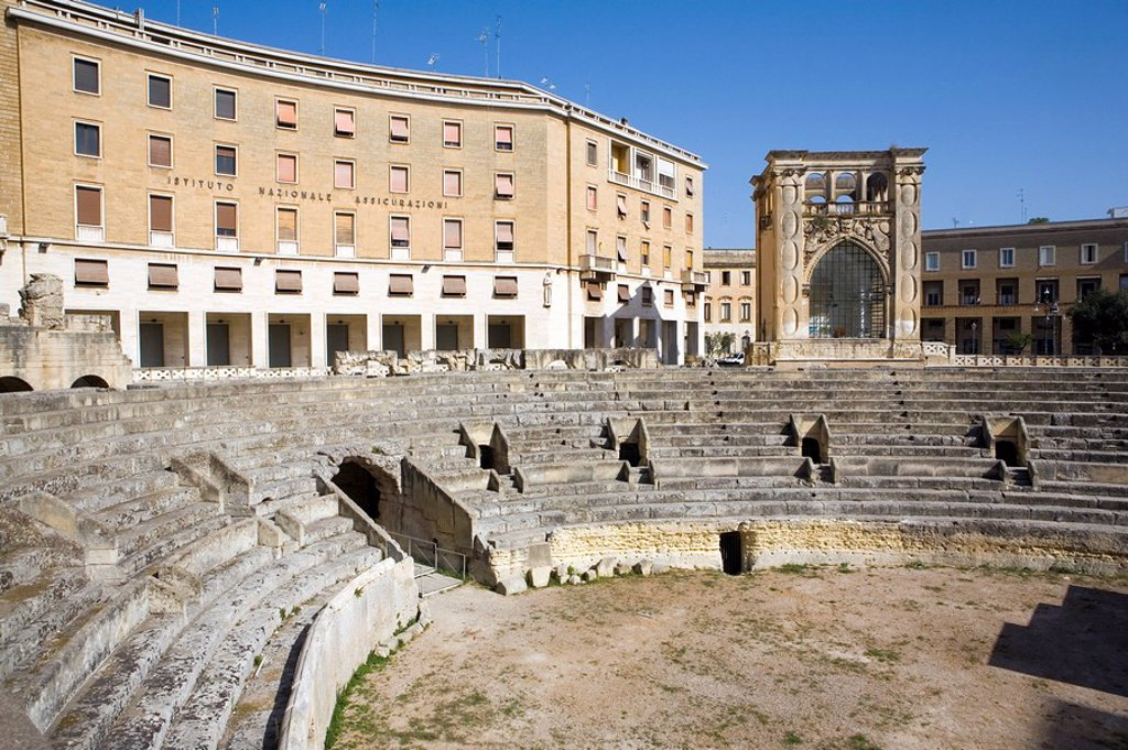 Roman theatre, Sant´Oronzo Square, Lecce, Lecce province, Puglia, Italy, Europe : Stock Photo
