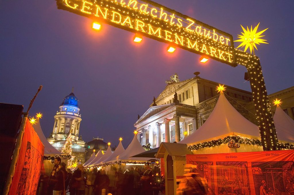Stock Photo: 1890-117858 Gendarmen markt Christmas market, Deutscher Dom and Konzert Haus, Berlin, Germany, Europe