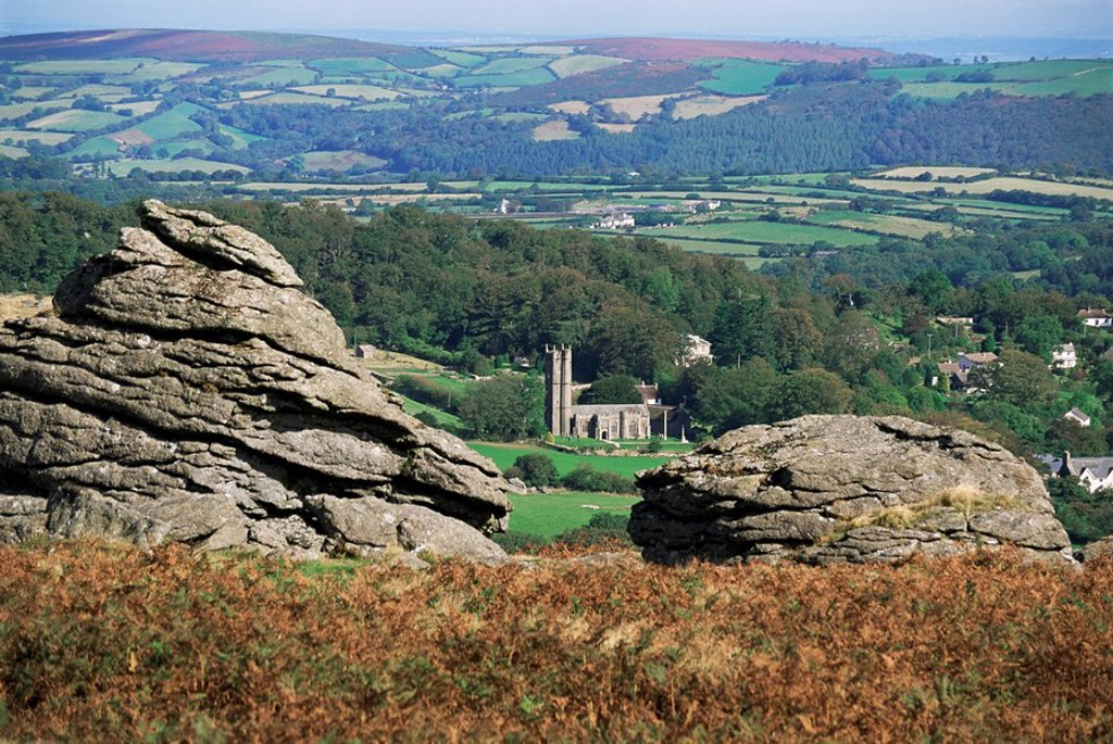 Granite rocks, Dartmoor, Devon, England, United Kingdom, Europe : Stock Photo
