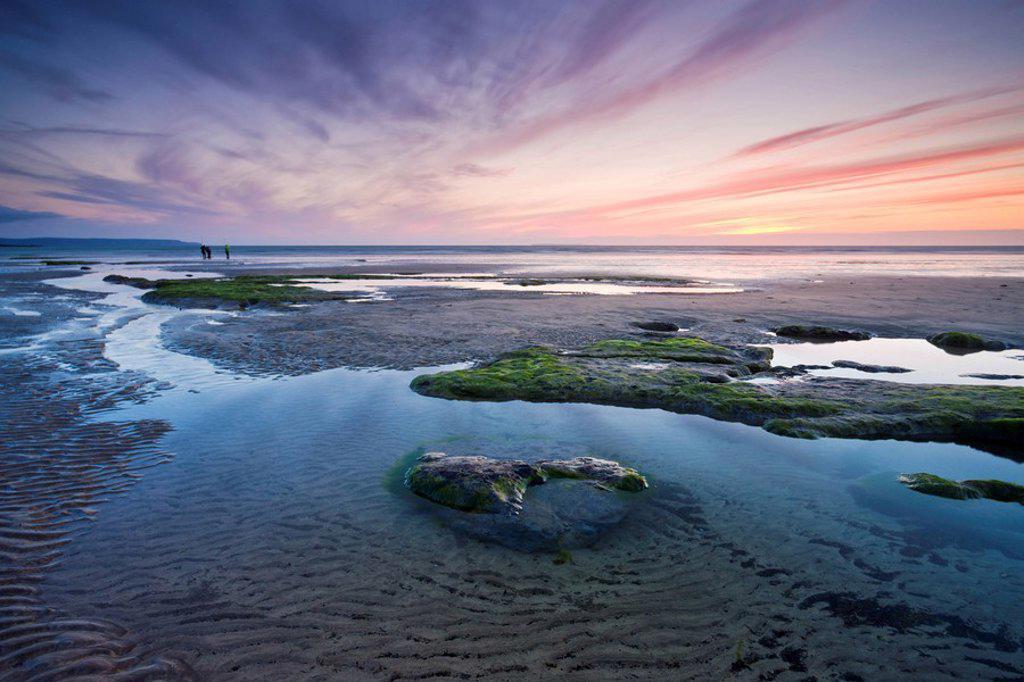 Stock Photo: 1890-118120 Rockpools at low tide in Westward Ho!, Devon, England, United Kingdom, Europe