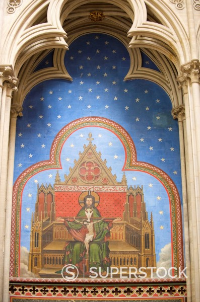 Painting of the Annunciation and Trinity, Notre Dame Cathedral, Bayeux Calvados, Normandy, France, Europe : Stock Photo