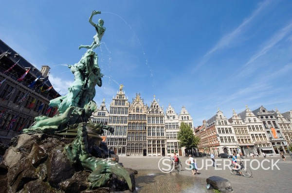 Stock Photo: 1890-118759 Baroque Brabo fountain dating from 1887, by Jef Lambeaux, in Grote Markt, Antwerp, Flanders, Belgium, Europe