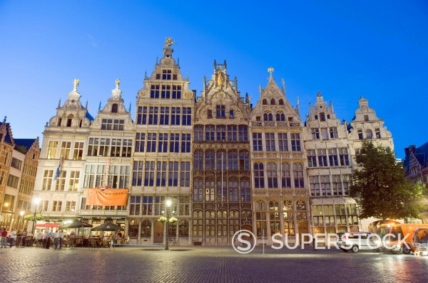 Stock Photo: 1890-118767 Stadhuis City Hall illuminated at night, Antwerp, Flanders, Belgium, Europe