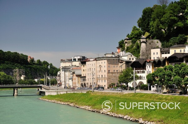 Stock Photo: 1890-119266 Salzach River and Old Town, Salzburg, Austria, Europe