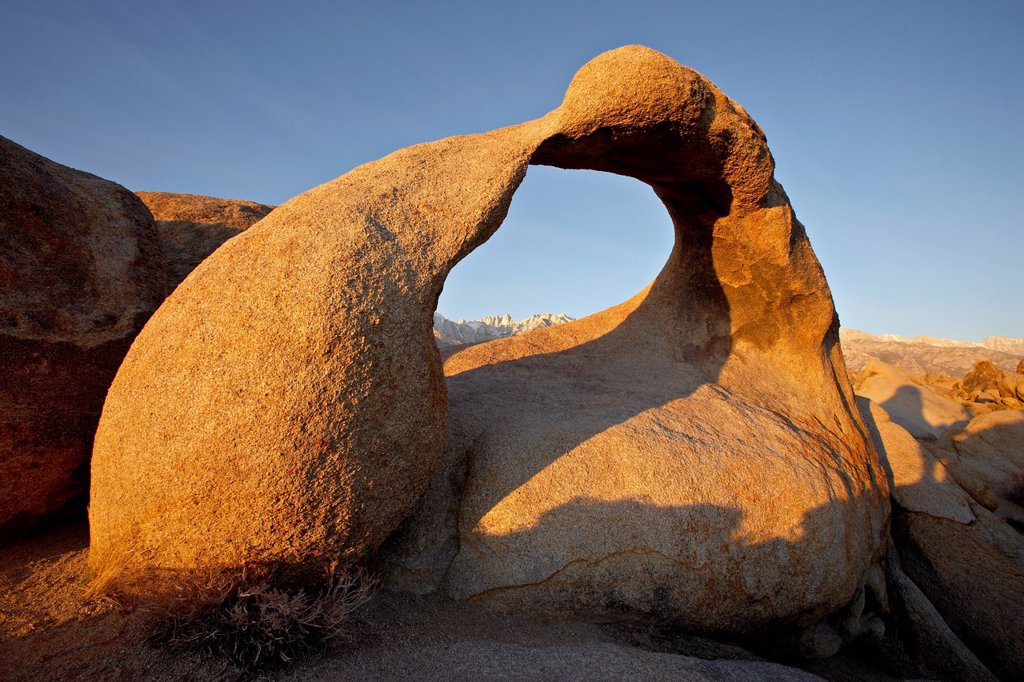 Stock Photo: 1890-119585 Mobius Arch framing Mt. Whitney at dawn, Alabama Hills, Inyo National Forest, California, United States of America, North America