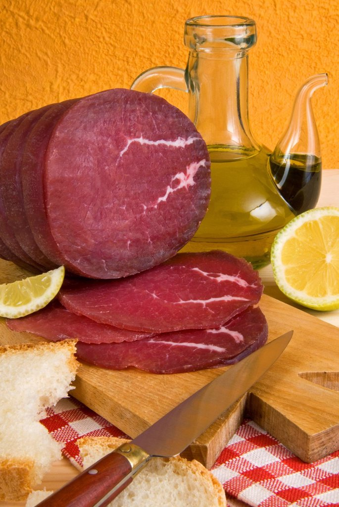 Stock Photo: 1890-119689 Bresaola, air_dried salted beef, Valtellina, Val Telline, Lombardy, Italy, Europe
