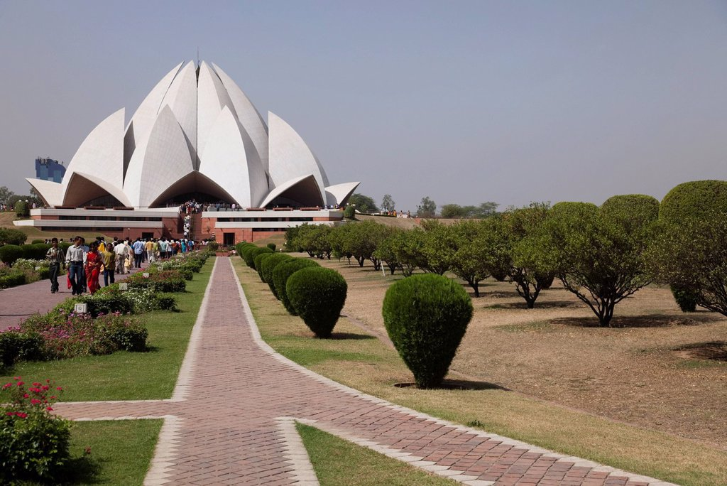 Stock Photo: 1890-120047 Baha´i House of Worship, Lotus Temple, Delhi, India, Asia