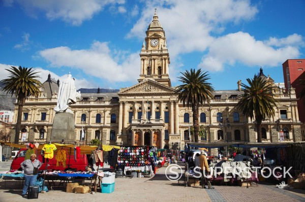 Stock Photo: 1890-120485 Market outside City Hall, City Bowl, Cape Town, Western Cape, South Africa, Africa