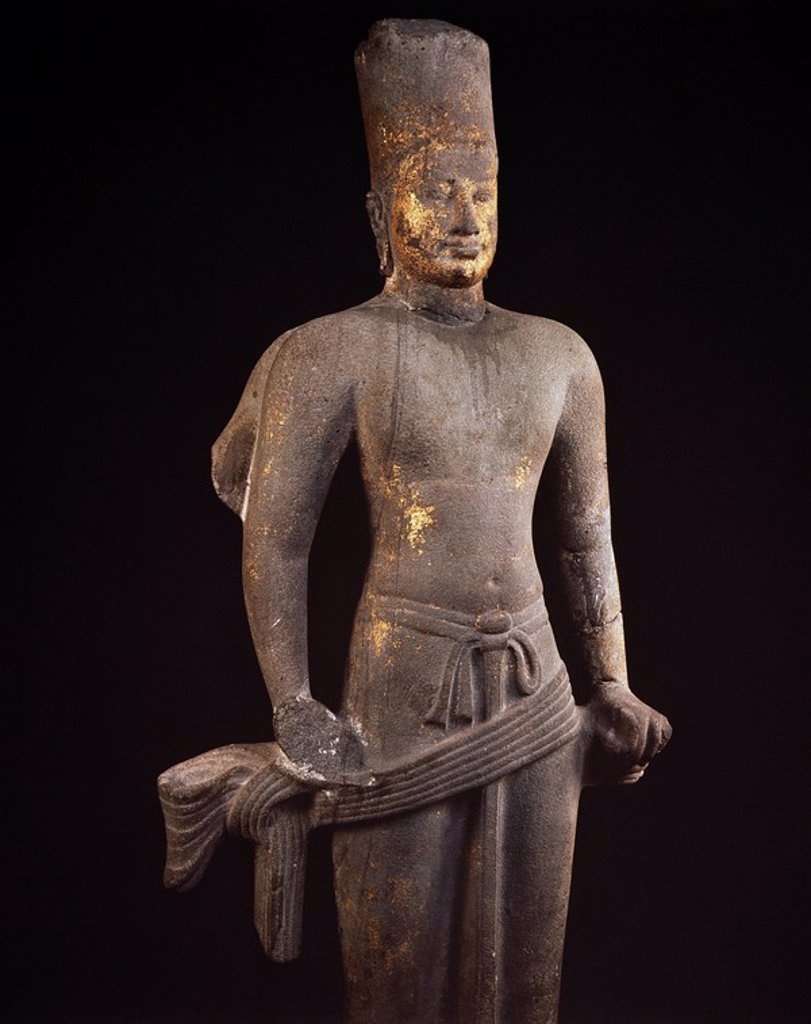 Stock Photo: 1890-12052 Stone statue of Vishnu, dating from between 7th and 9th centuries AD, National Museum, Bangkok, Thailand, Southeast Asia, Asia