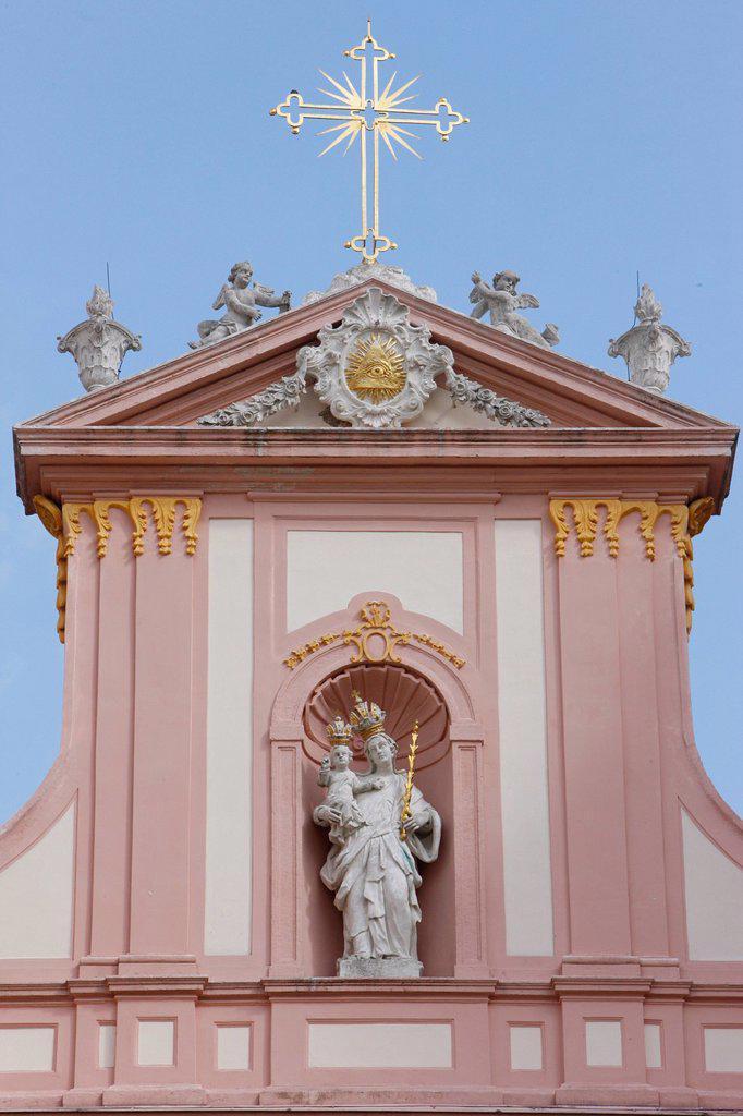Catholic cross and statue of the Virgin Mary, Gottweig Benedictine abbey, Gottweig, Lower Austria, Austria, Europe : Stock Photo