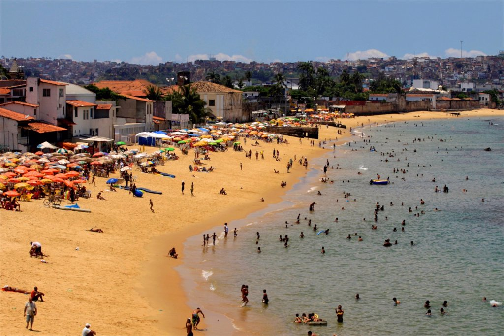 Stock Photo: 1890-121186 On the main beach of Salvador de Bahia, Brazil, South America