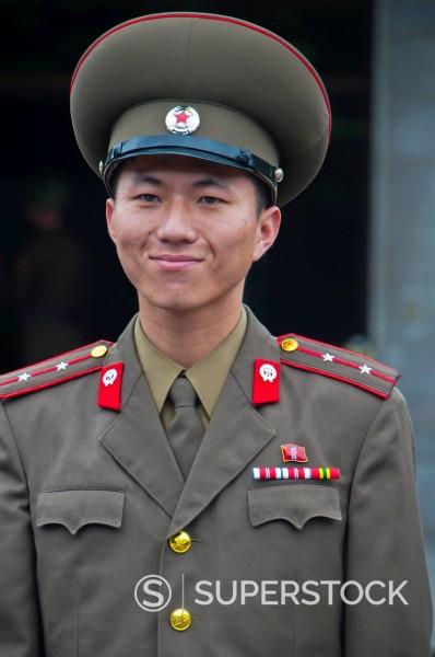 Stock Photo: 1890-121385 Friendly north Korean soldier, Pammunjon, North Korea, Asia