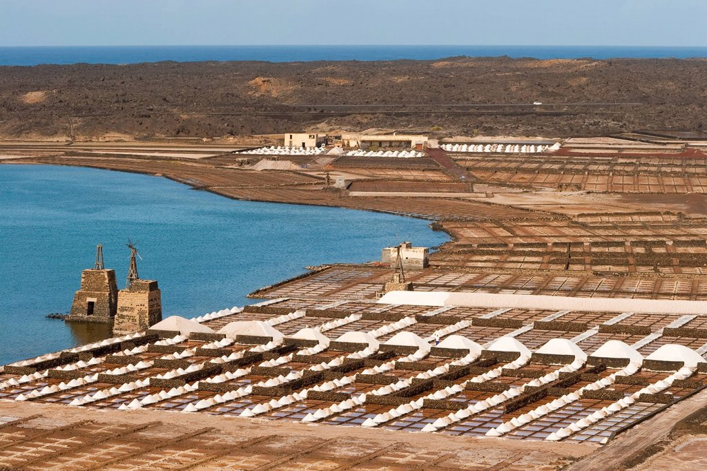 Stock Photo: 1890-122005 The only salt pans on the island still being worked, at Salinas de Janubio in the south, Salinas de Janubio, Teguise, Lanzarote, Canary Islands, Spain, Atlantic, Europe