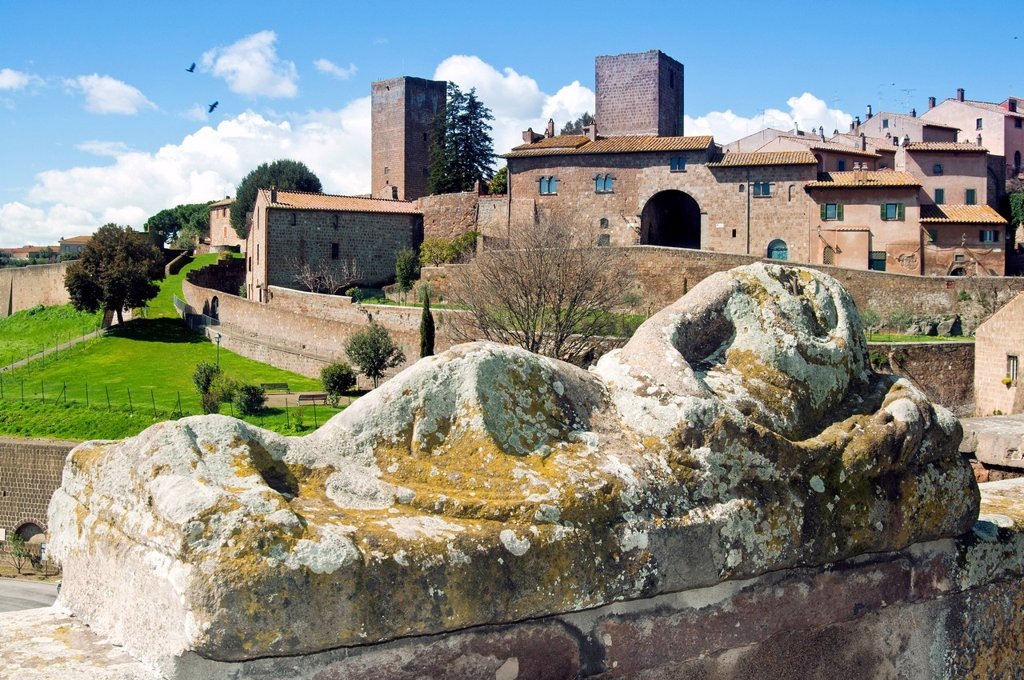 Stock Photo: 1890-122906 View of Tuscania from Piazza Bastianini and Etruscan sarcophagus, Tuscania, Viterbo Province, Latium, Italy, Europe