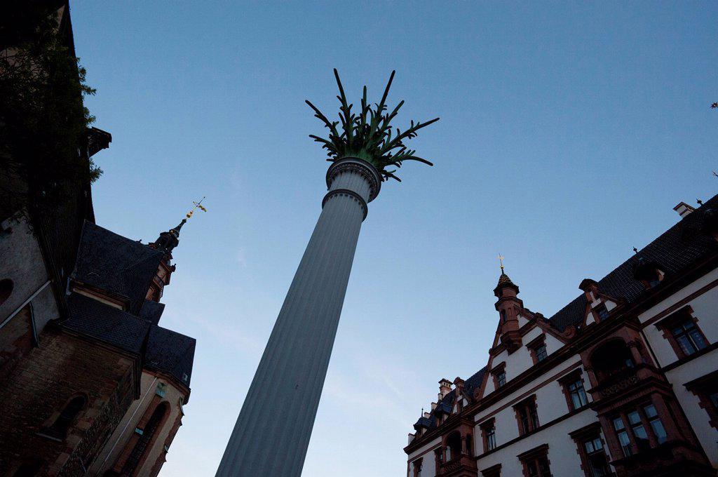 Column outside of Nikolaikirche, Leipzig, Saxony, Germany, Europe : Stock Photo