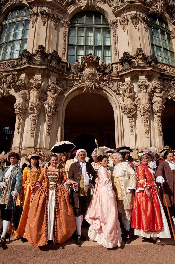 Stock Photo: 1890-122940 Costumed re_enactors at the Zwinger, Dresden, Saxony, Germany, Europe