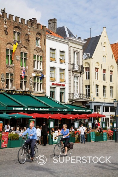 Main Square Marketplace, Bruges, West Flanders, Belgium, Europe : Stock Photo