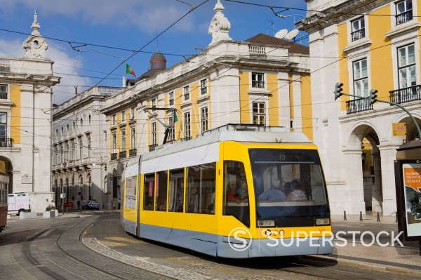 Stock Photo: 1890-123069 Light rail in Praca do Comercio, Baixa District, Lisbon, Portugal, Europe