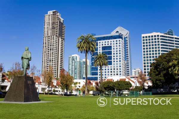 Stock Photo: 1890-123126 Statue of Benito Juarez in Pantojo Park, San Diego, California, United States of America, North America