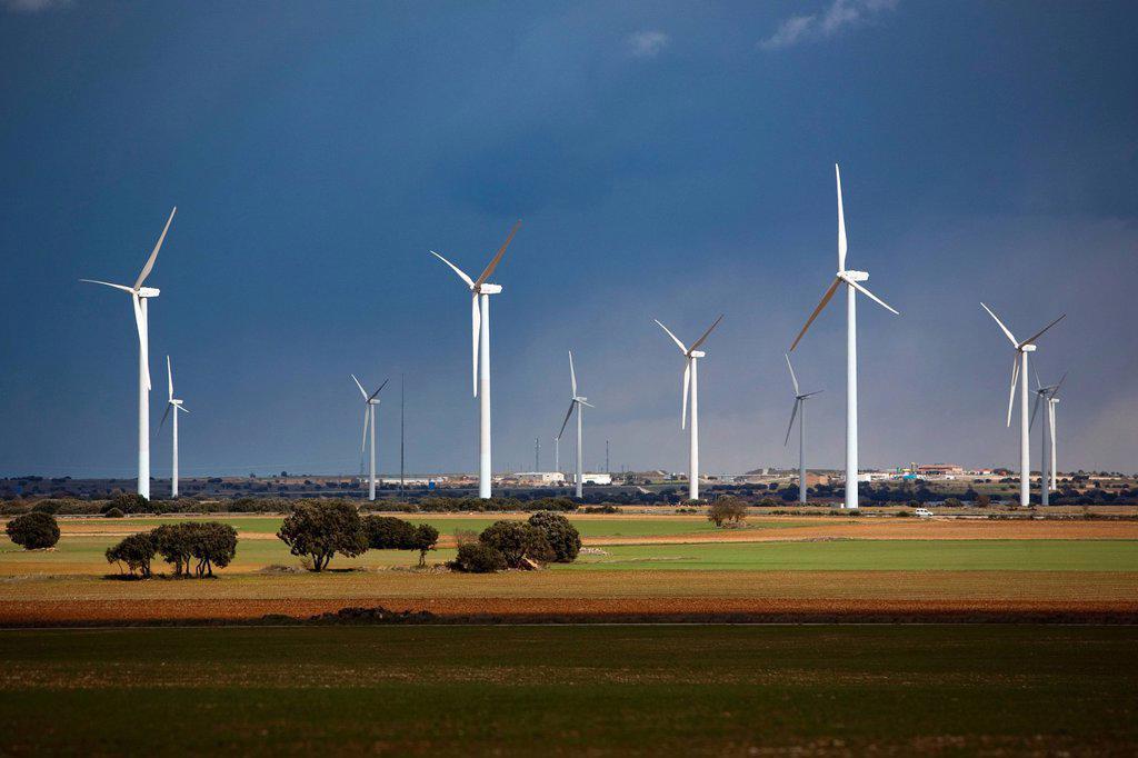 Wind turbines, Albacete, Castilla_La Mancha, Spain, Europe : Stock Photo
