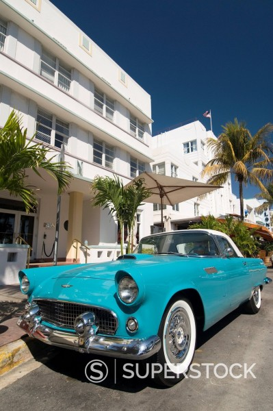 Stock Photo: 1890-123494 Classic antique Thunderbird, Art Deco District, South Beach, Miami, Florida, United States of America, North America