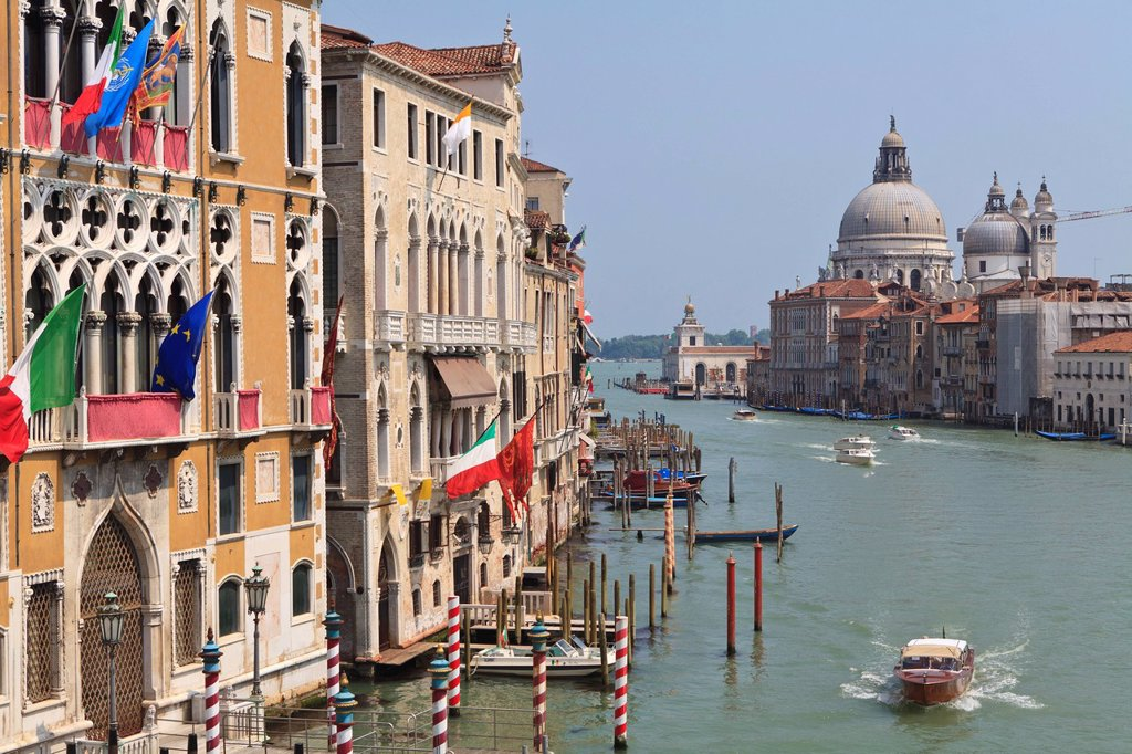 Grand Canal and Santa Maria della Salute, Venice, UNESCO World Heritage Site, Veneto, Italy, Europe : Stock Photo