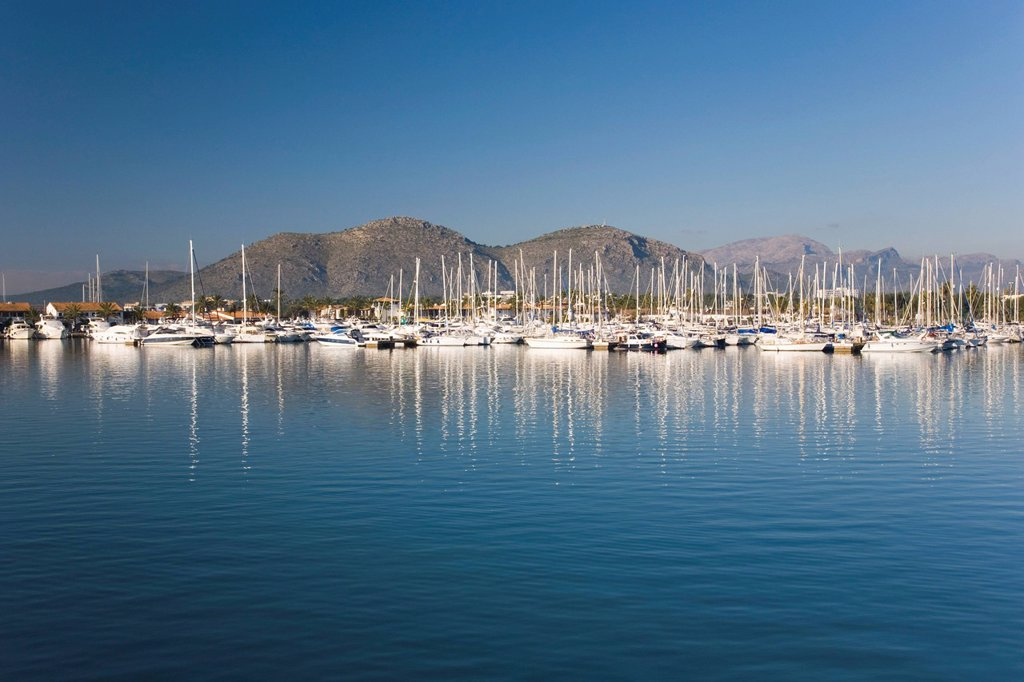 View across the harbour Port d´Alcudia, Mallorca, Balearic Islands, Spain, Mediterranean, Europe : Stock Photo