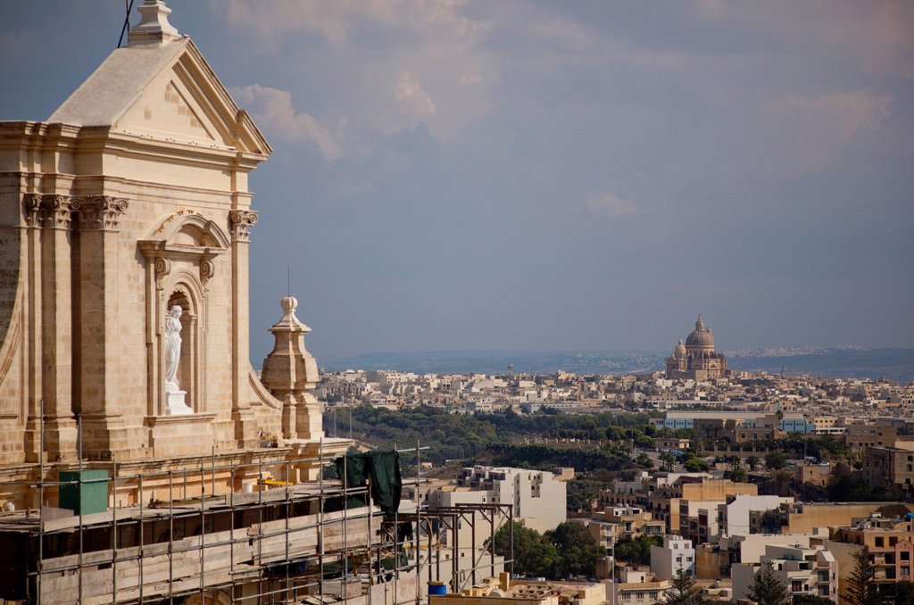 Stock Photo: 1890-124241 Gozo Cathedral and Xewkija Dome from the Citadel, Rabat Victoria, Gozo, Malta, Mediterranean, Europe