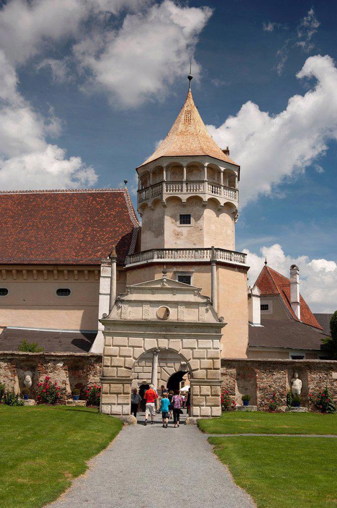 Stock Photo: 1890-124305 Tower and gate at courtyard of Renaissance Rosenburg Castle, Rosenburg, Niederosterreich, Austria, Europe