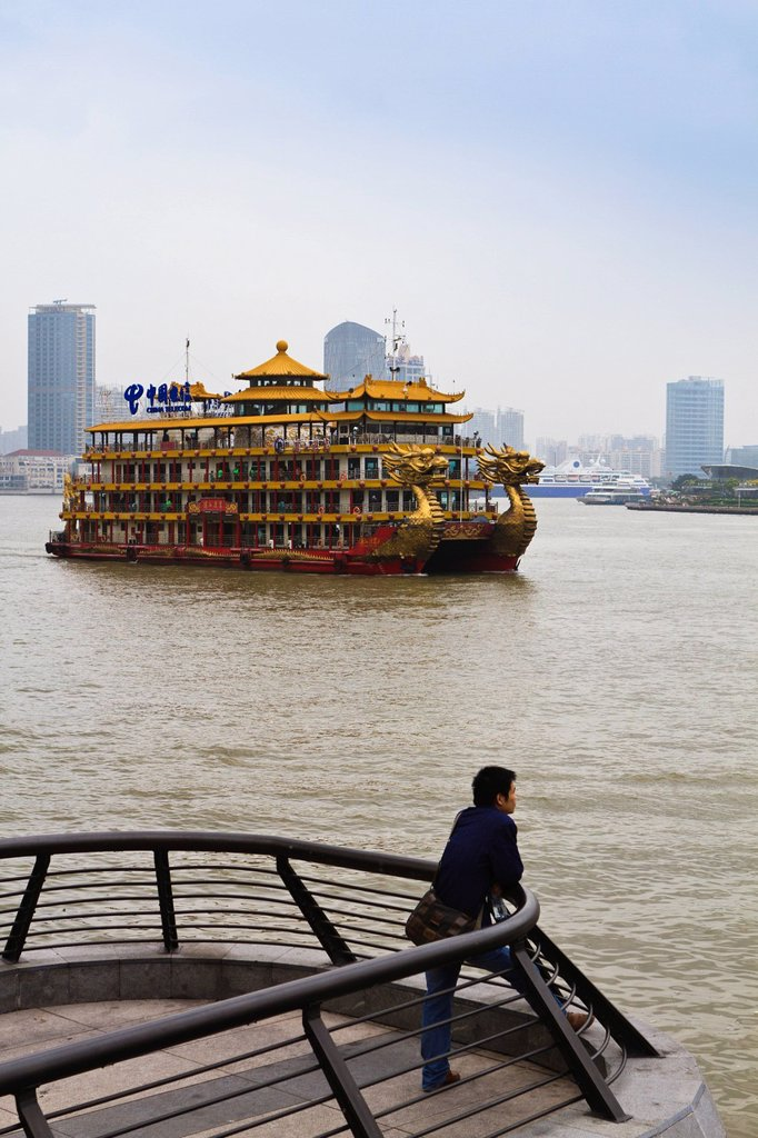 Stock Photo: 1890-124798 Tourist pleasure boat on the Huangpu River, Shanghai, China, Asia