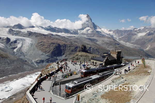 Stock Photo: 1890-124998 Gornergrat Station and the Matterhorn, Zermatt, Valais, Swiss Alps, Switzerland, Europe