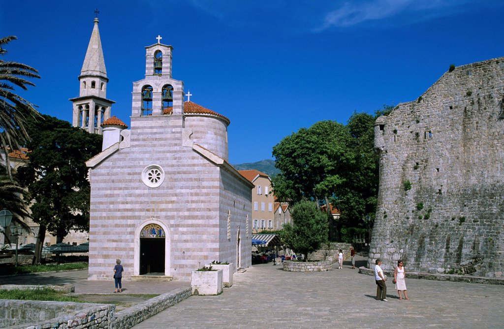 Stock Photo: 1890-125443 Sveti Trojice Holy Trinity church and Citadel walls, Old Town, Budva, The Budva Riviera, Montenegro, Europe